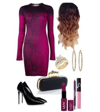 snake print bodycon purple pumps clutch ring hoop earrings jewels bag shoes