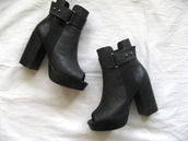 shoes,boots,open toes,black,tan,leather,buckles,heel,mid heel
