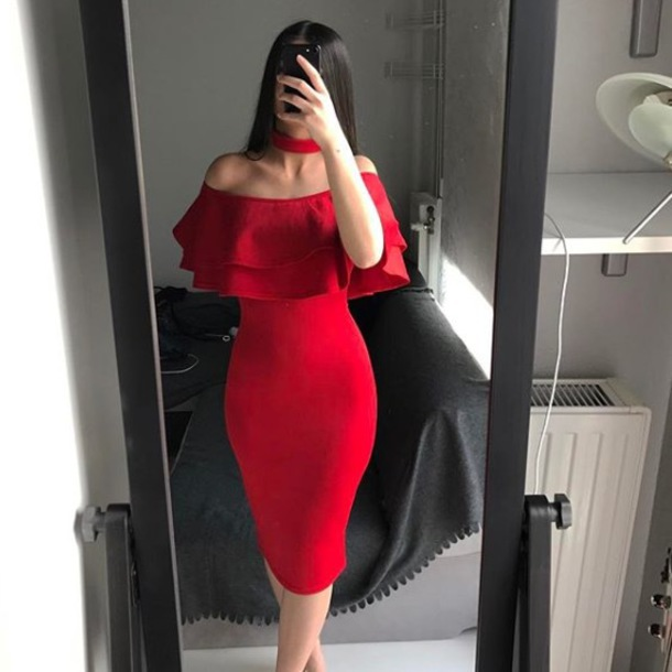 dress red long maxi dress red dress summer dress prom dress choker necklace  bare shoulder dress 1366ad198a05