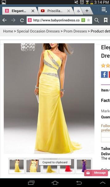 dress yellow prom dress