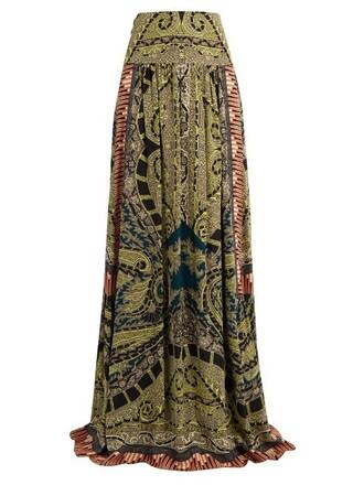 skirt print silk paisley green