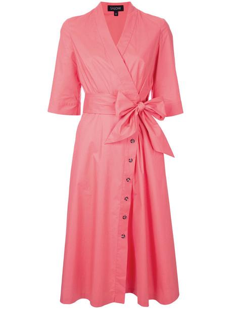 Saloni dress shirt dress women spandex cotton purple pink