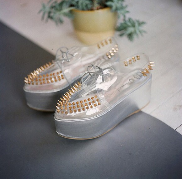 see through jellyshoes jellies grunge goth male hipster pale creepers studded shoes studs indie