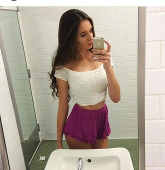 shorts plum purple dressy white crop tops classy fashion vibe fashion toast fashion coolture fashion girl shirts top dressy top