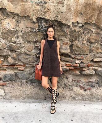 dress mini dress suede olivia culpo instagram gladiators summer outfits summer dress