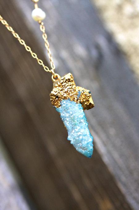 Spirit Quartz Cactus Quartz Gold Necklace 24k Gold by MeiElizabeth