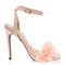 Ladies ankle strap womens faux feather peep toe fluffy stiletto heels size 5-10