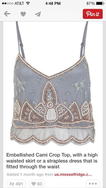 tank top light blue cami tank top cute pretty embellished top