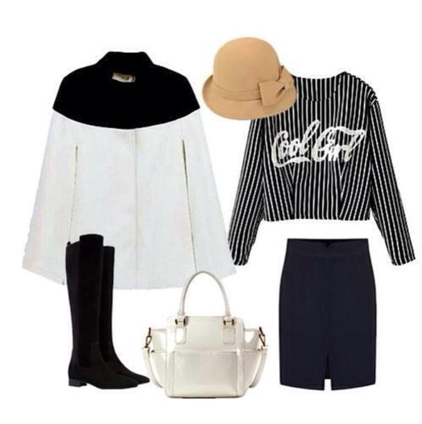 blouse shirt black white stripes long sleeves cool
