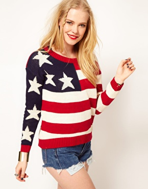 Hearts & bows cotton knit american flag knit sweater at asos