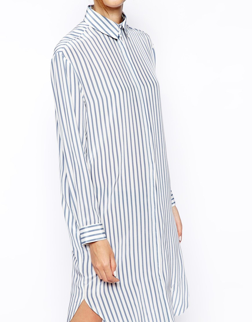 ASOS WHITE Silk Shirt Dress in Stripe Print at asos.com
