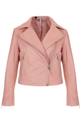 Boxy Leather Biker Jacket - Topshop USA