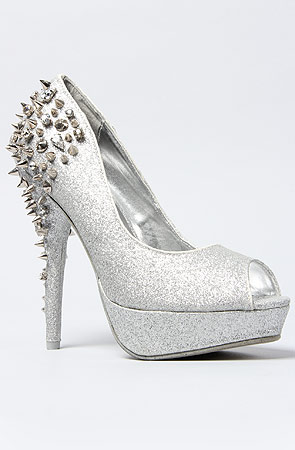 *Sole Boutique Glitter Spiked Heel in Silver -  Karmaloop.com