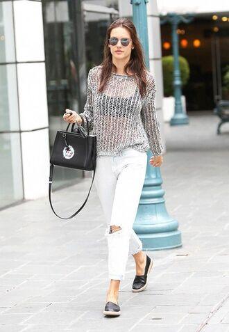 jeans sheer grey sweater black sports bra black purse distressed white jeans black flats blogger sunglasses