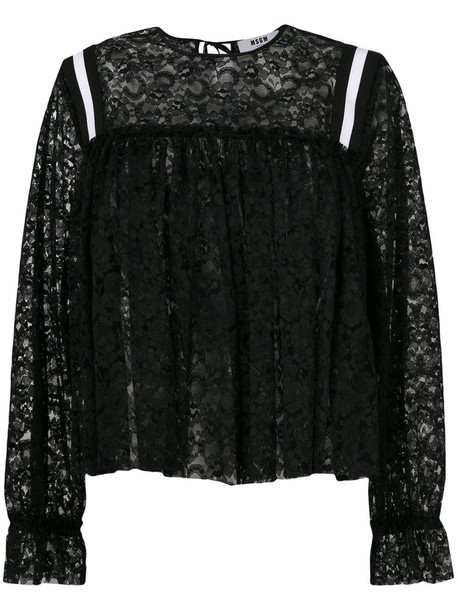 MSGM blouse women lace black top
