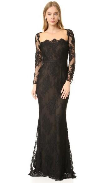 gown long lace black dress