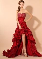 sweetheart,beading,ruffle,burgundy,stain,dress