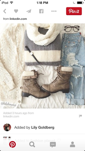cardigan loose baggy cozy sweater striped sweater ripped jeans boots hiking boots style glasses watch warm fall outfits winter outfits fashion round sunglasses infinity scarf small watch shoes sweater college