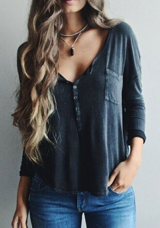 top fashion casual long sleeves stylish plunging neck solid color long sleeve t-shirt for women trendy cool grey