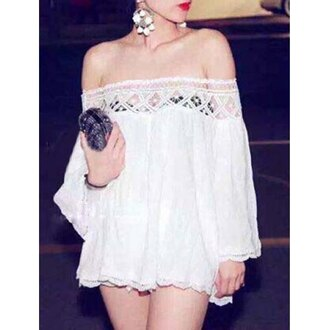 dress white off the shoulder fashion summer long sleeves style cute rose wholesale-feb