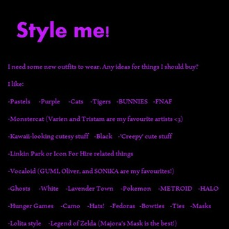 dress me style me purple black lolita cosplay bunny ears cat ears monstercat varien tristam lavender lavender town hat shoes legend of zelda majora hunger game white ghost ghosts kawaii spooky spoopy pastel creepy cute and creepy creepy cute sonika gumi oliver pokemon nintendo microsoft nerd feminine masculine camouflage icon for hire vocaloid fnaf five nights at freddy's style style me romy majoras mask the hunger games jeffrey campbell linkin park