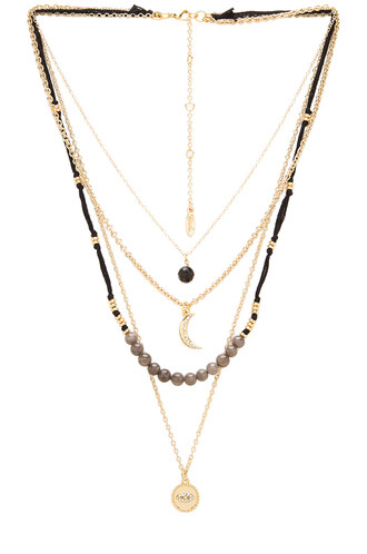 layered beaded necklace metallic gold jewels