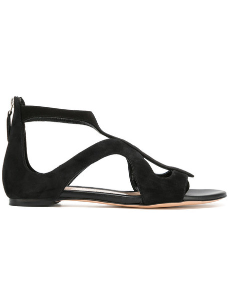 Alexander Mcqueen strappy women sandals strappy sandals leather suede black shoes