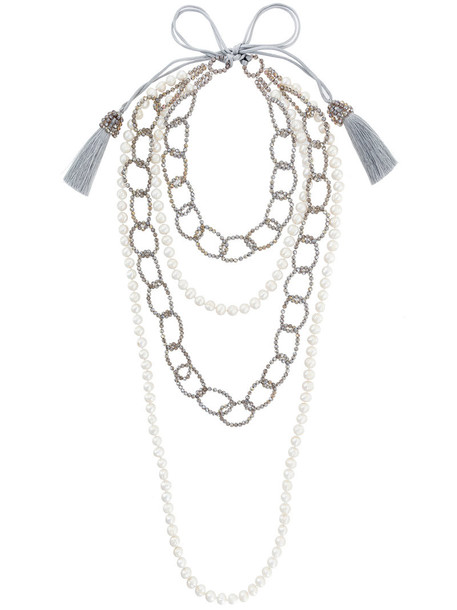 Night Market layered necklace women pearl layered necklace white jewels