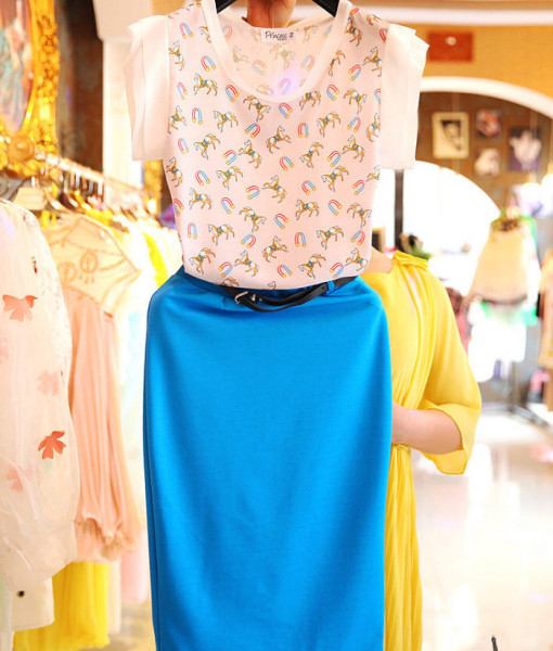 (#2777) Summer Sleeveless Casual Loose Women Sky Blue Color Cartoon Printed 2 Pieces/s Dress Elegant Lady Clothes | Amazing Shoes UK