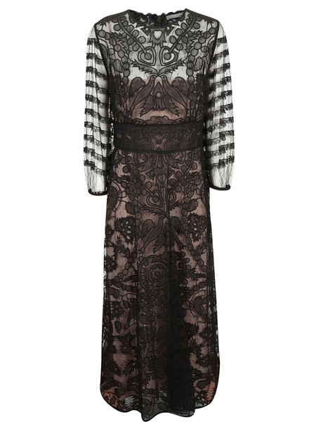 RED VALENTINO dress tulle dress embroidered sheer black