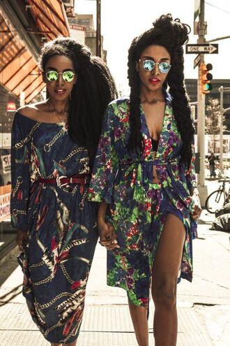 dress slit dress summer dress printed dress print african print box braids mirrored sunglasses black girls killin it deep v off the shoulder dress midi dress