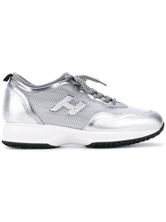 metallic mesh women sneakers leather grey shoes