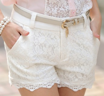 Women 2013 New Summer High Waist Zipper Fly Lace Crochet Black/White/Beige Matching Shorts Free Shipping A424 2 063-in Shorts from Apparel & Accessories on Aliexpress.com