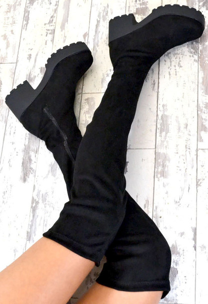 0c97b7363f0 shoes adira chunky heel biker style chelsea over knee boots black boots  chunky boots chunky sole