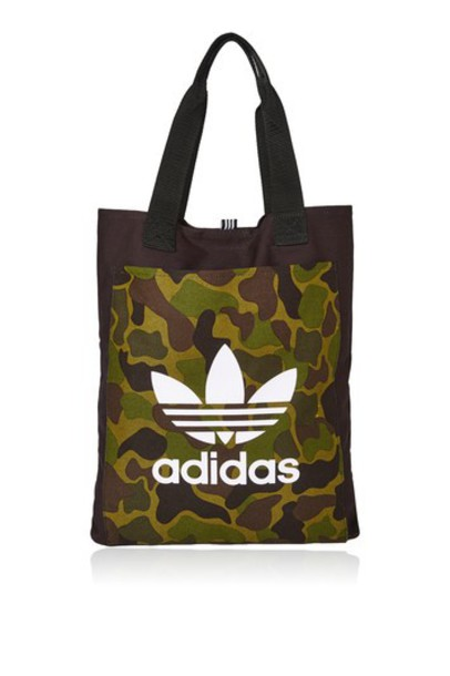 9c62ff0ba655 TopShop Black Canvas Shopper Bag by Adidas - Dark Green - Wheretoget