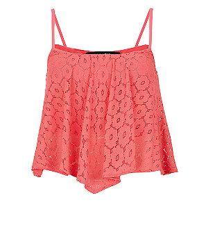 Pink daisy lace hanky hem crop cami