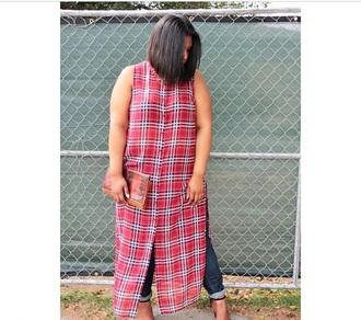 blouse plaid maxitop plaid shirt sideslit plussize
