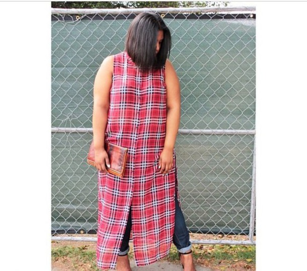 blouse plaid maxitop plaid shirt slit plus size