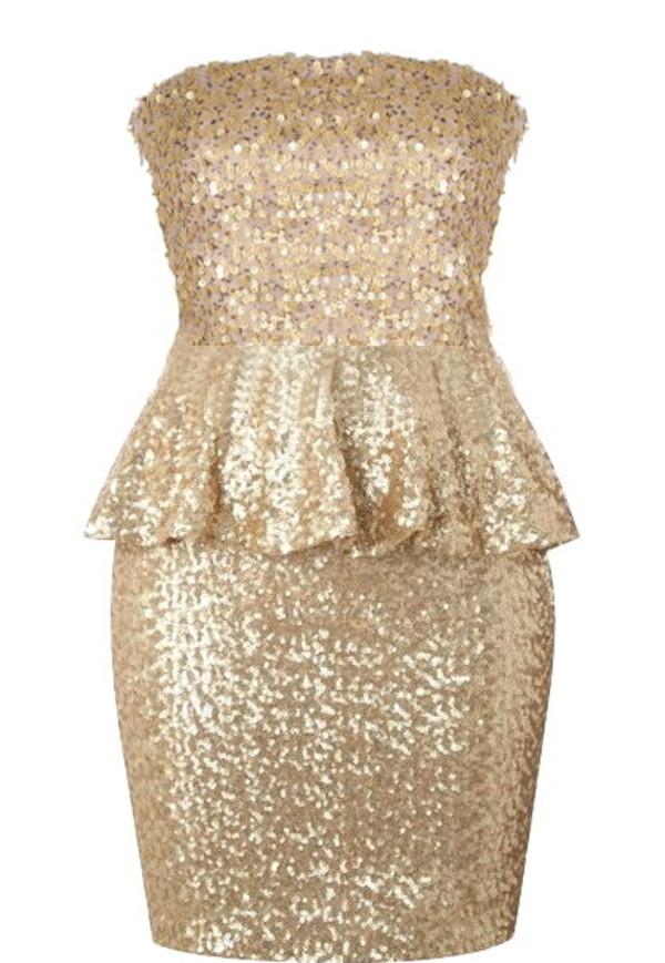 dress peplum dress sequins sequin dress gold