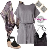 romper,grey,kimono,feathers,outfit idea,summer,fashion,style