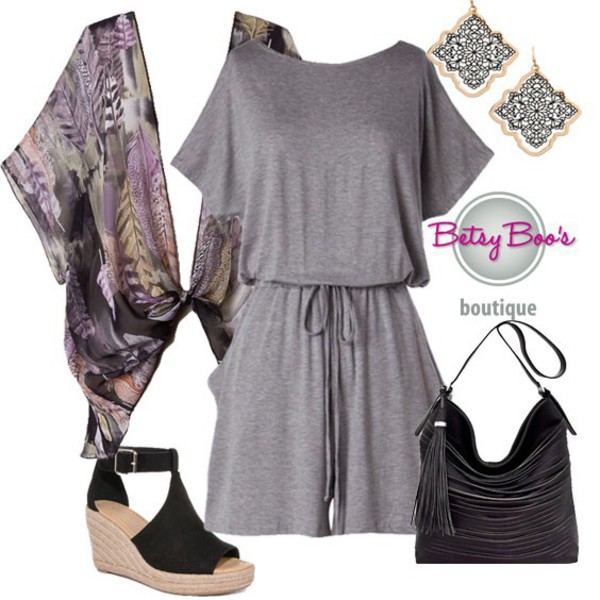 romper grey kimono feathers outfit idea summer fashion style