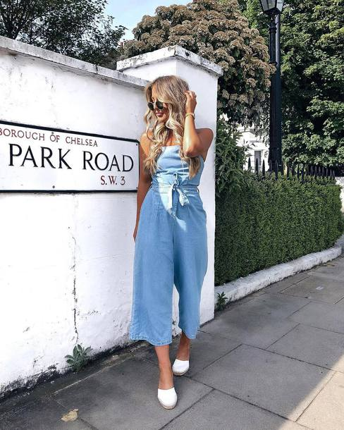 jumpsuit denim denim jumpsuit strapless shoes mules white mules