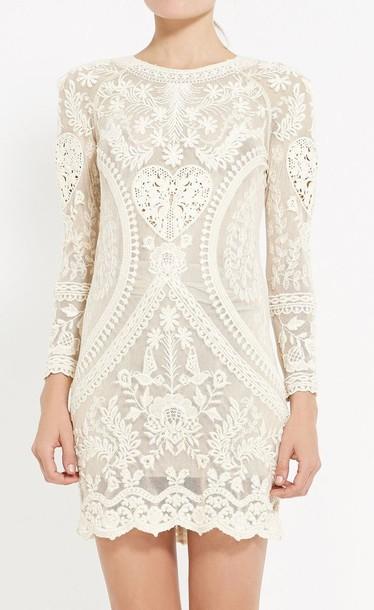 dress white dress beaded dress beige dress