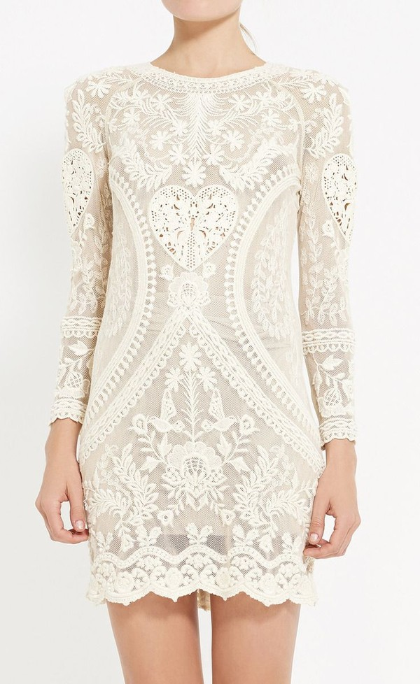dress white dress beaded dress beige dress