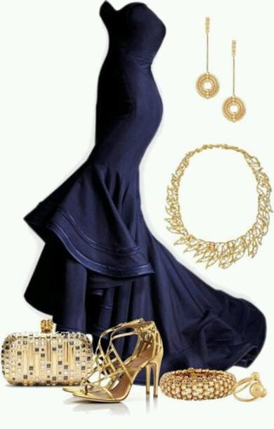 dress midnight blue evening dress blue prom dress dark blue dress dress