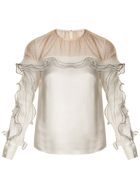 self-portrait top ruffle satin white