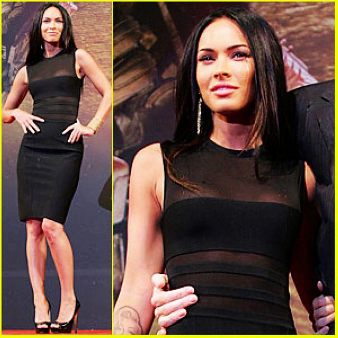 Megan Fox Black Herve Leger Sheer Insert Pencil Bandage Dress [Herve Leger Sheer Insert Pencil] - $159.00 : cheap herve leger, 2013 bandage dress