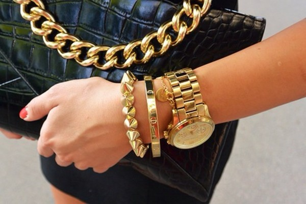 bag black leather gold chain jewels