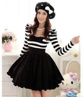 Fashion spring summer black and white stripe chiffon bowknot bubble long sleeve o neck one piece dress WD1701-inDresses from Apparel & Accessories on Aliexpress.com