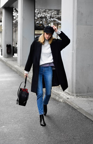 coat tumblr black coat sweater white sweater hat fisherman cap denim jeans blue jeans boots black boots bag